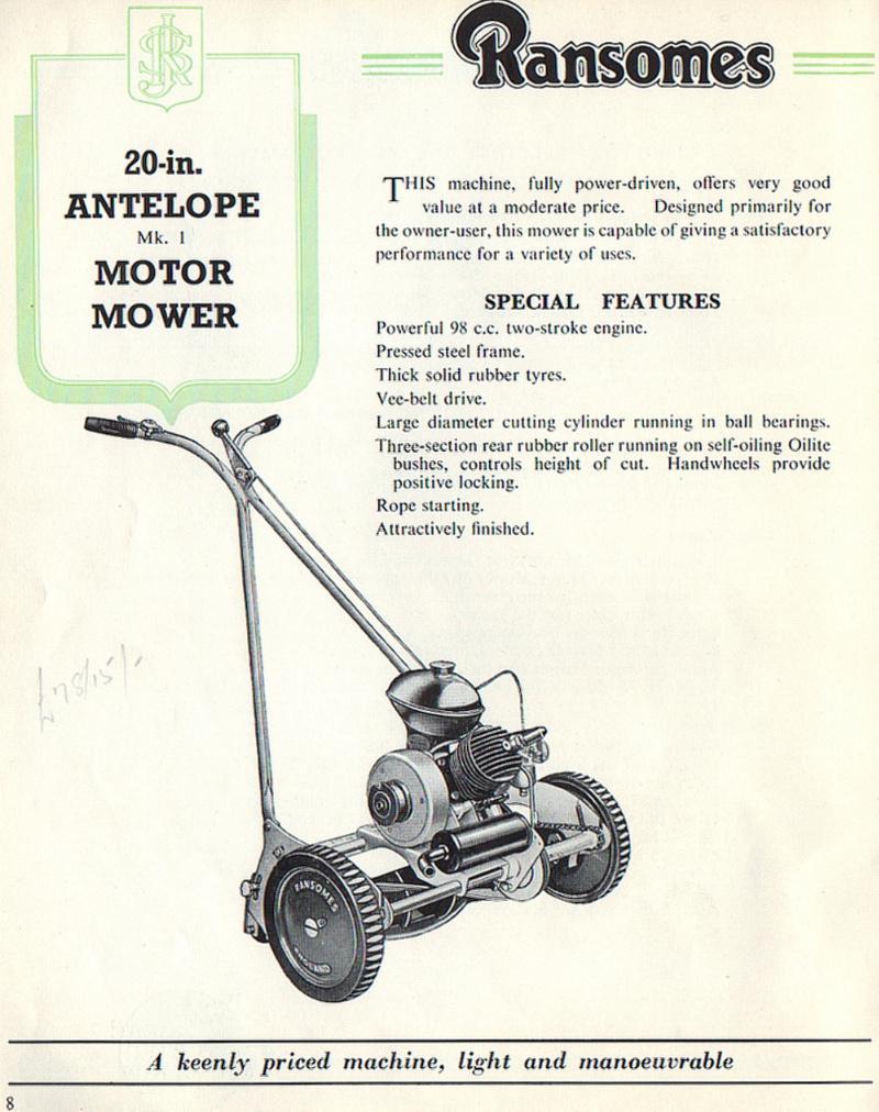 ransomes antelope c1954 outdoorking repair forum rh outdoorking com Ransomes Mower Parts Ransomes Bobcat Mower Parts