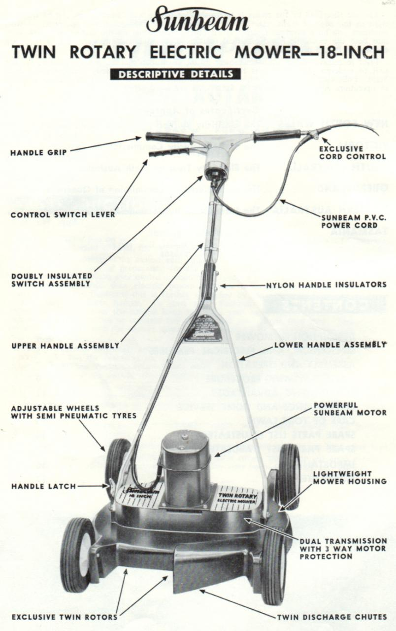 Sunbeam Twin Rotor Electric Mower C1959 Outdoorking Repair Forum Handle Diagram And Parts List For Weedeater Walkbehindlawnmower At Least One Feature Was A Very Short Wheel Base Because Of Two Half Size Rotors This Advertised As An Anti Scalping With Some Credibility